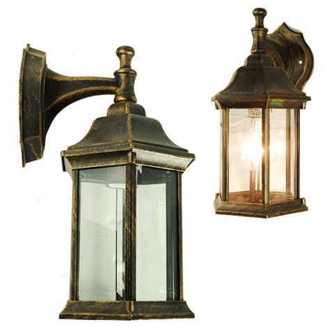 eTopLighting Antique Brushed Golden Black Exterior Light Fixture - Outdoor Wall Lantern