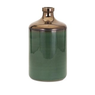 "14.25"" Hunter Green and Metallic Bronze Dipped Decorative Table Accent Vase - Large"