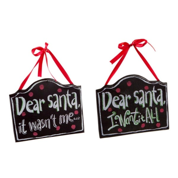 "Club Pack of 24 Wood and Metal Dear Santa ""It Wasn't Me..."" and ""I Want It All"" Wall Hangings 7"""