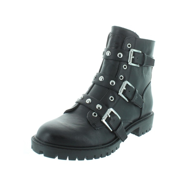 7924ac4e6bc G by Guess Womens Prez Motorcycle Boots Faux Leather Studded - 6.5 Medium  (B