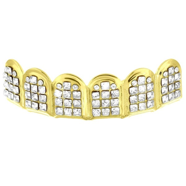 Designer Iced Out Top Teeth Mouth Grillz Yellow Finish
