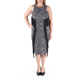Womens Black, White Striped Sleeveless Midi Shift Dress Size: XL