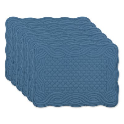 DII French Blue Quilted Farmhouse Placemat (Set of 6)