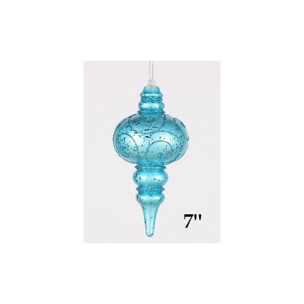 Christmas at Winterland WL-FIN-07-AQ 7 Inch Finial Ornament Aqua with Aqua Glitter - N/A