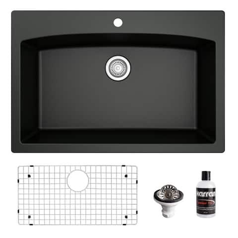 Karran Drop-In Quartz 33 in. 1-Hole Single Bowl Kitchen Sink Kit
