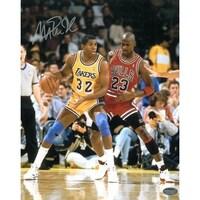 9bf39aa5d Magic Johnson signed Los Angeles Lakers 16x20 Photo vs Michael Jordan