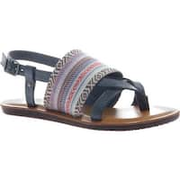 Madeline Women's Dicey Thong Sandal Blue Textile/Synthetic