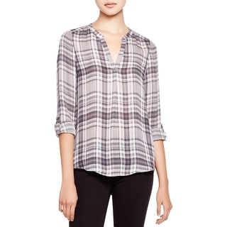 Joie Womens Coralle Pullover Top Silk Plaid