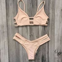 Two Pieces Vintage Style Swimsuits Bikini Set Beachwear +Free Gift -Random Necklace