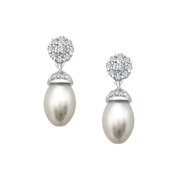 Freshwater Pearl and 1/2 ct White Topaz Drop Earrings in Sterling Silver