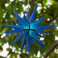 "Wintergreen Lighting 72725 Indoor / Outdoor LED Moravian Star with 60"" Lead - BLue - N/A"