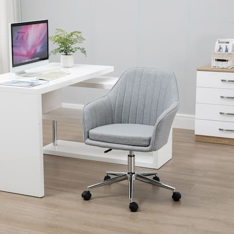 Vinsetto Office Computer Chair Mid-Back Task Chair with Tub Shape Design, Lined Pattern Back and Swivel Wheels for Living Room