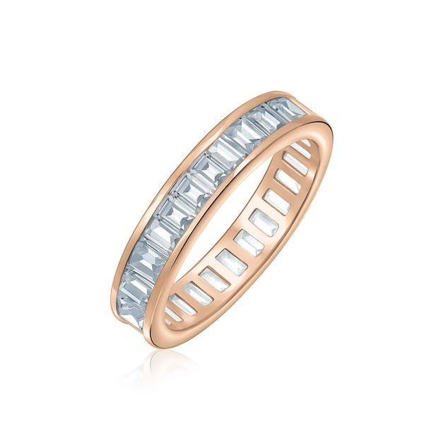 5mm BAGUETTE CUT CUBIC ZIRCONIA RHODIUM PLATED 925 SILVER ETERNITY RING