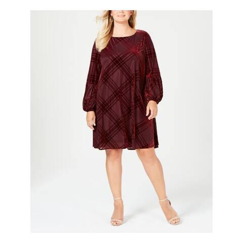 TAYLOR Womens Burgundy Velvet Burnout Balloon Sleeve 3/4 Sleeve Jewel Neck Above The Knee Shift Dress Plus Size: 24W