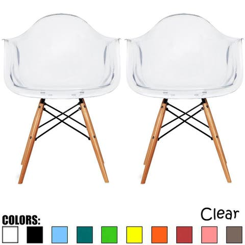 2xhome - Set of 2, Clear Modern Plastic Chair Armchair With Natural Wood Legs Accent Dining