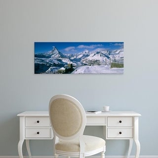 Easy Art Prints Panoramic Images's 'Group of people skiing near a mountain, Matterhorn, Switzerland' Canvas Art