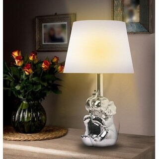 "KANSTAR 19""Ceramic Elephant Table Lamp (silver)"