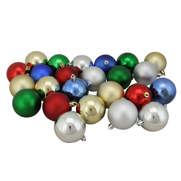 "24ct Traditionally Colored Shatterproof Shiny and Matte Christmas Ball Ornaments 2.5"" (60mm) - RED"