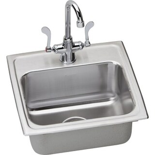 "Elkay LRAD171655SC 17"" Single Basin Drop-In Stainless Steel Bar Sink with Commer"