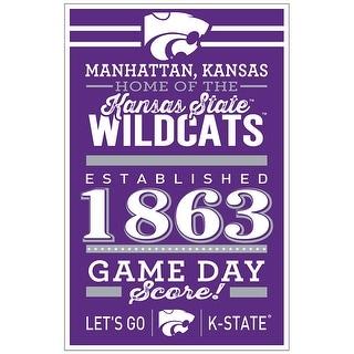 Kansas State Wildcats Sign 11x17 Wood Established Design