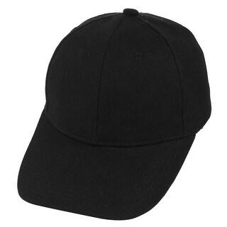 Unisex Cotton Blends Adjustable Outdoor Sport Exercise Baseball Cap Visor Black