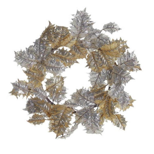 """24"""" Gold and Champagne Glitter Drenched Holly Leaf Artificial Christmas Wreath - Unlit"""