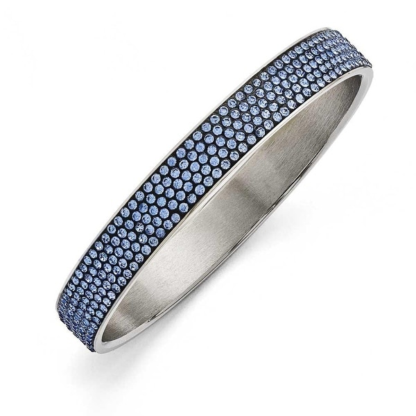 Chisel Stainless Steel Polished Blue Enamel with Crystals Thin Flat Bangle