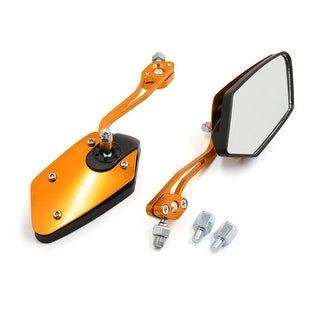 2Pcs 8mm 10mm Gold Tone Pentagonal Design Side Rearview Mirror For Motorcycle