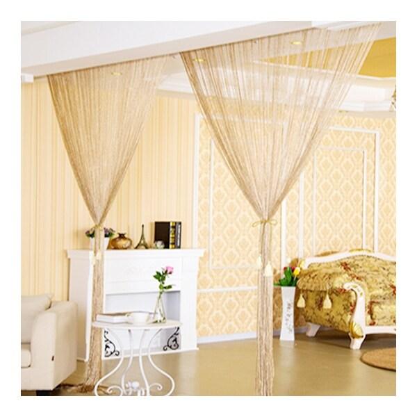 Shop Dense Flat Silver Silk String Door Curtain Beige
