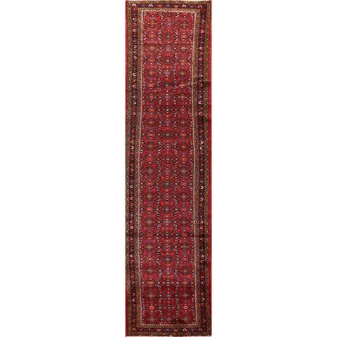 "Red Geometric Hamedan Persian Wool Runner Rug Handmade Hallway Carpet - 2'7"" x 12'8"""