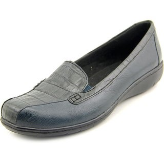 Clarks Bayou Women Square Toe Leather Blue Loafer