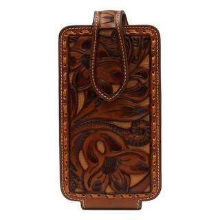Nocona Western Cell Phone Case Embossed Pieced Underlay M Tan