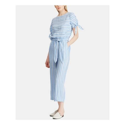 RALPH LAUREN Womens Light Blue Striped Crew Neck Jumpsuit Size 8