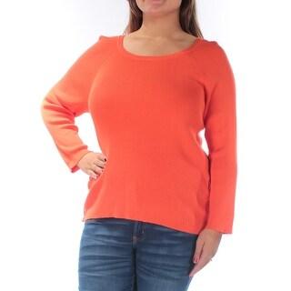 $125 RALPH LAUREN Orange Jewel Neck 3/4 Sleeve Sweater XL B+B