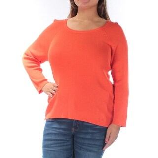 RALPH LAUREN $125 Womens New 1487 Orange Jewel Neck 3/4 Sleeve Sweater XL B+B