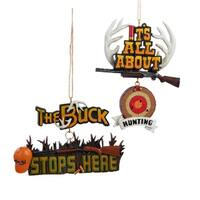 "4"" Hunting Season Hanging Sign Decorative Christmas Ornament"