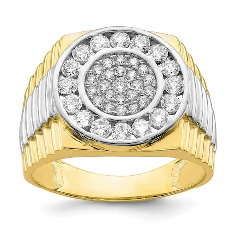 10K Yellow Gold with Rhodium-plated Cubic Zirconia Men's Ring by Versil