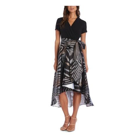 R&M RICHARDS Black Short Sleeve Maxi Hi-Lo Dress Size 12
