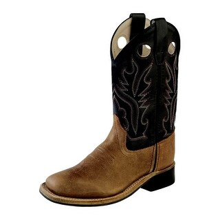 Old West Cowboy Boots Boys Girls Kid Square Rubber Brown Black