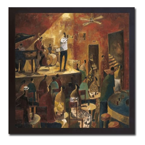 Red Jazz by Didier Lourenco Black Floater-Framed Canvas Giclee Art (26 in x 26 in Framed Size)
