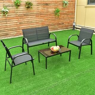 costway 4 pcs patio furniture set sofa coffee table steel frame garden deck black - Garden Furniture Steel
