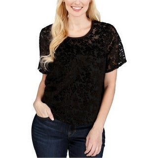 Lucky Brand Burnout Velvet Pattern Top Blouse - l