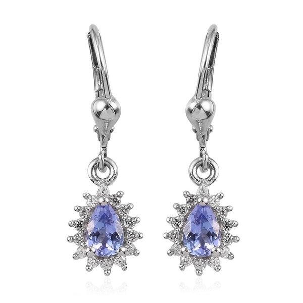 Tanzanite Blue /& White CZ 925 Sterling Silver Drop Dangle Earrings