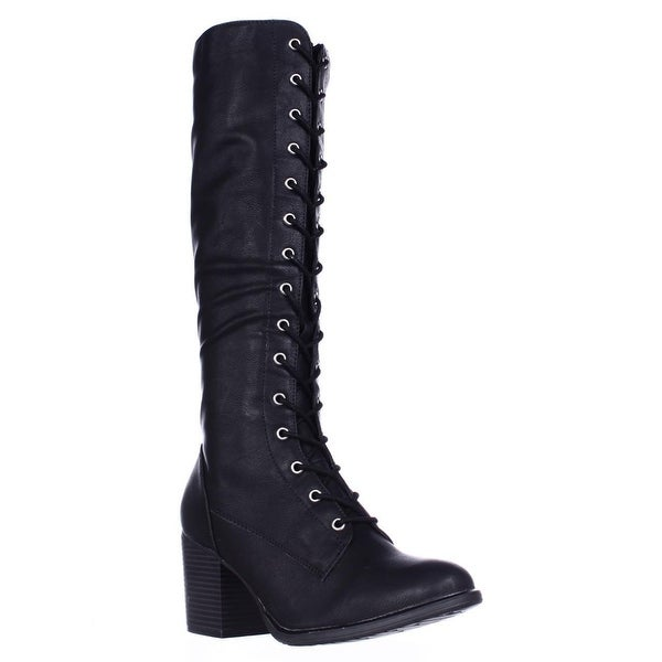 AR35 Lorah Lace Up Heeled Tall Boots, Black