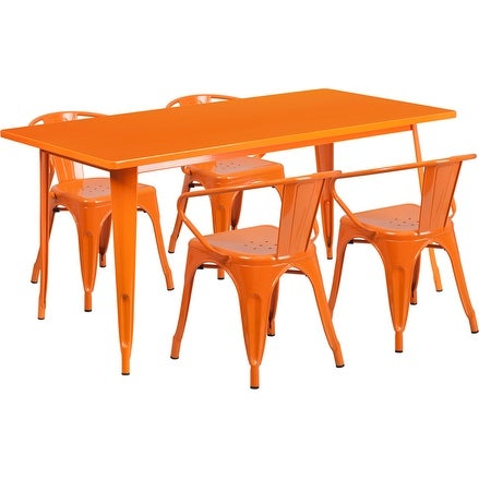 Kendrick Rectangular 31.5'' x 63'' Orange Metal Indoor-Outdoor Table Set w/4 Arm Chairs for Restaurant/Bar/Pub/Patio
