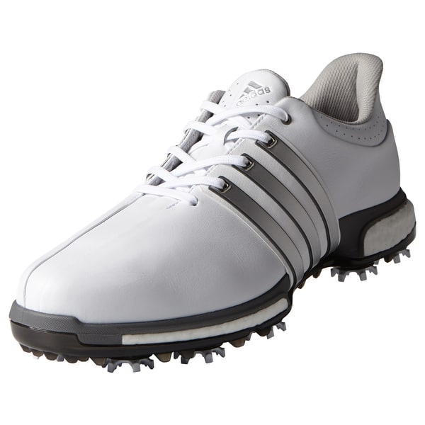 Shop Adidas Men S Tour 360 Boost White Silver Met Dk Silver Met Golf Shoes F33249 F33261 Overstock 20607545