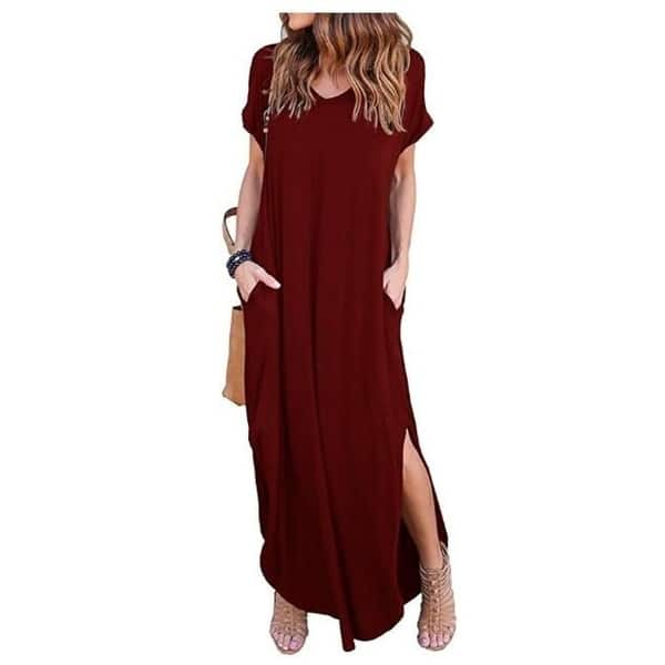 Women Short Sleeves 2 Colors Patchwork Pockets Club Summer Casual Long Dress