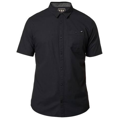 FOX Mens Chambray Stretch Button Up Shirt, Black, Medium