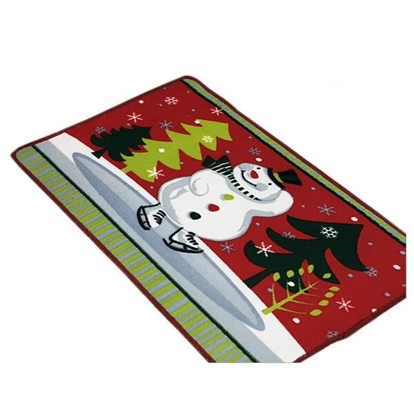 Christmas Series Ground Floor Foot Door Mat Carpet - Dark red