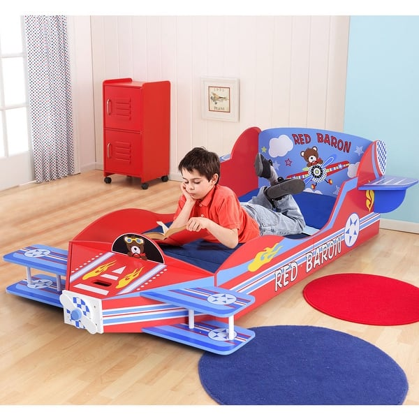 Shop Gymax Kids Airplane Toddler Bed Children Bedroom ...